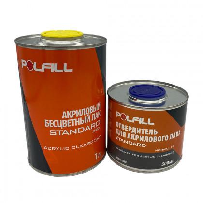 Лак акриловый MS с отвердителем, 2К 2:1, Polfill, 1l+500ml, 43168