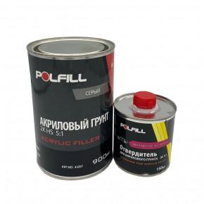 Грунт акриловый HS Polfill с отвердителем, 2K, 5:1, серый, 750+150ml, 43207